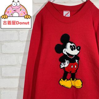 ディズニー(Disney)の80-90s アメリカ製 ミッキーマウス ビッグワッペン スウェット レッド(スウェット)