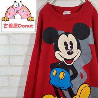 ディズニー(Disney)の80-90s ディズニー アメリカ製 ビッグデザイン スウェットシャツ レッド(スウェット)