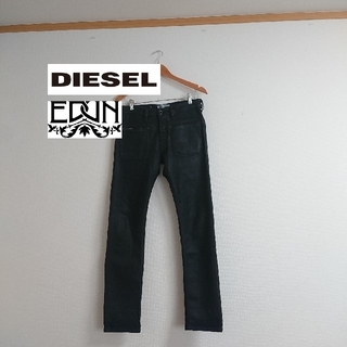 ディーゼル(DIESEL)のDIESEL EDUN コラボ 牛革 風 黒 スキニー ブラック 29 インチ(デニム/ジーンズ)