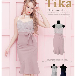 Tika♡胸元レース ピンクドレス