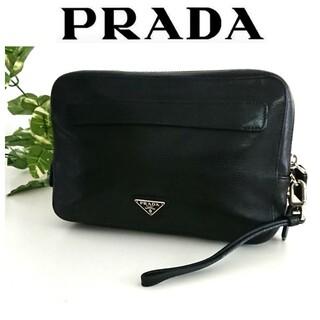 プラダ(PRADA)の美品 プラダ 本革 レザー クラッチバッグ 黒 レディース メンズ(セカンドバッグ/クラッチバッグ)