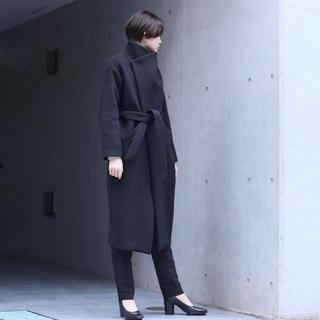 mame - you ozekiカシミア入黒ロングコート新品同様ウールコート カシミヤ