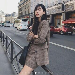 韓国ファッション 人気のジャケット ミニスカート 二点セット セットアップ