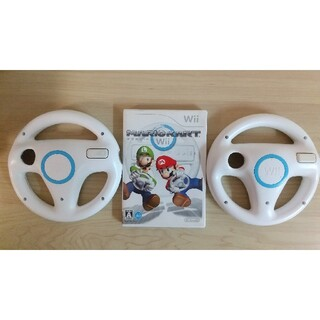 ウィー(Wii)のwii マリオカート ハンドル二個セット(家庭用ゲームソフト)