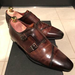 クロケットアンドジョーンズ(Crockett&Jones)のマグナーニ  ダブルモンク パティーヌ オパンケ 41 ダークブラウン 革靴(ドレス/ビジネス)