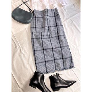 オゾック(OZOC)の美品/チェック柄/フリンジスカート(ひざ丈スカート)