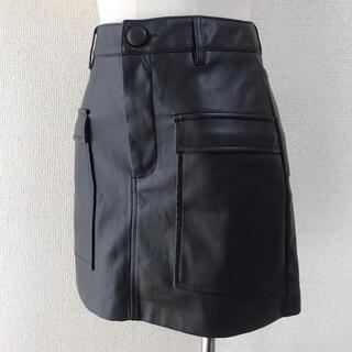 ザラ(ZARA)のZARA フェイクレザースカート ブラック XSサイズ (ミニスカート)