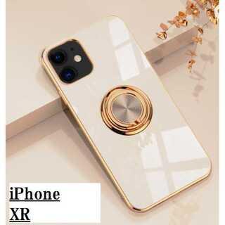 匿名配送 iPhone XR ケース ライトベージュ バンカーリング(iPhoneケース)