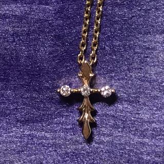 agete - 【美品】アガット クロス ネックレス k10 ダイヤ 十字架
