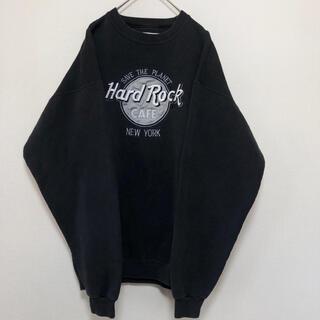 ハードロックカフェ  スウェット トレーナー 黒銀 刺繍 90s ヴィンテージ
