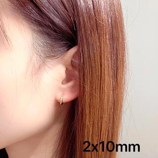 K18 フープピアス ゴールド リングピアス 2x10mm ペア 18K 新品(ピアス)
