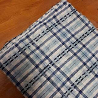 ブルー系チェック柄 110×200cm 綿100% 生地 手芸 裁縫はぎれ 布(生地/糸)