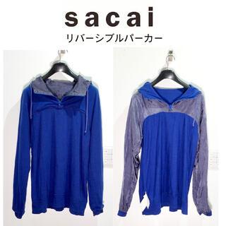 サカイ(sacai)のsacai サカイ キュプラ×コットン リバーシブルパーカー 青×グレー メンズ(パーカー)