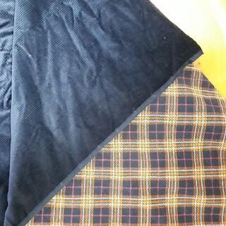 紺色コールテン生地  88×154cm 裏地はチェック柄 手芸 裁縫 はぎれ 布(生地/糸)