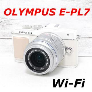 オリンパス(OLYMPUS)の❤️Wi-Fi搭載でスマホへ❤️人気ホワイト❤️OLYMPUS E-PL7(ミラーレス一眼)