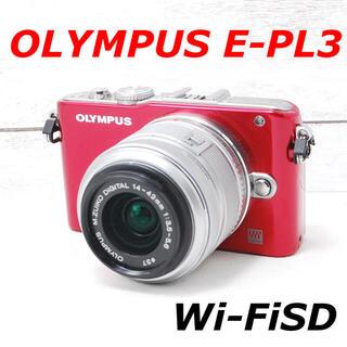 オリンパス(OLYMPUS)の❤️お洒落なレッドカラー❤️スマホ転送❤️OLYMPUS E-PL3(ミラーレス一眼)