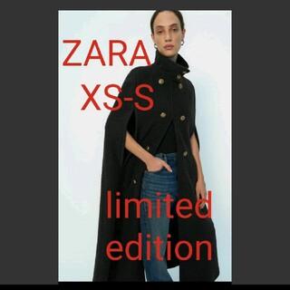 ザラ(ZARA)のS 新品 ZARA ザラ ウール混ケープ ウールブレンドケープポンチョコート(ポンチョ)