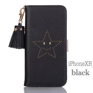 iPhoneケース 手帳型 iPhone XR スマイル スター 黒(iPhoneケース)