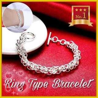沢山のリングが素敵なトレンドタイプのブレスレット【シルバー】(ブレスレット/バングル)