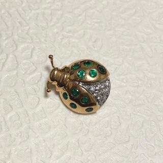 ティファニー(Tiffany & Co.)のティファニー k18 ダイヤ エメラルド ブローチ(ブローチ/コサージュ)
