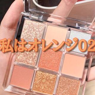 韓国コスメ風 9色アイシャドウ オレンジ コーラル系 02 箱付