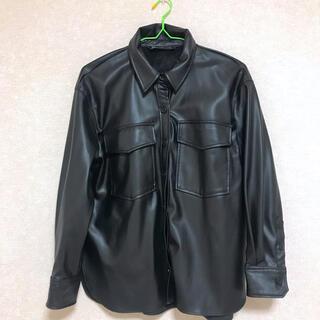 ザラ(ZARA)のzara レザーシャツ レザージャケット(レザージャケット)