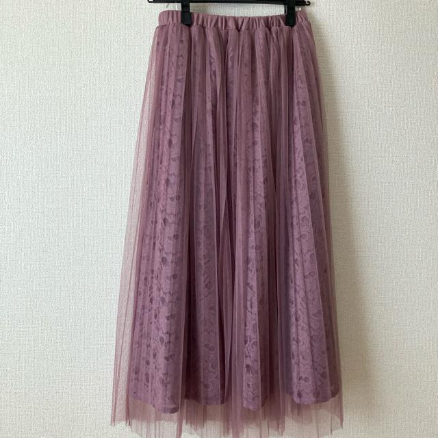 tocco(トッコ)のレースチュールスカート くすみピンク ミモレ丈 レディースのスカート(ロングスカート)の商品写真