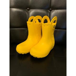 クロックス(crocs)の【美品】クロックス 長靴 レインブーツ キッズ C10 17.5cm 黄色(長靴/レインシューズ)