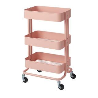 イケア(IKEA)のキッチンワゴンRÅSKOGロースコグ ピンクレッド要組立て 新品 IKEA  (キッチン収納)