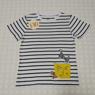 グラニフ(Design Tshirts Store graniph)の130◇graniph◇グラニフ◇トムとジェリー◇美品ボーダー柄Tシャツ◇白×黒(Tシャツ/カットソー)