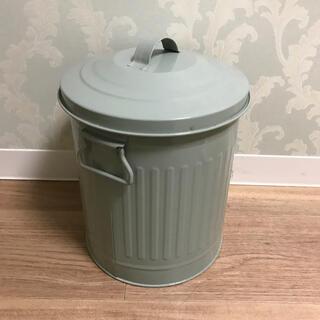 ニトリ(ニトリ)のサリュ ブリキ ダストビン ペール缶 ゴミ箱 アンティーク ミントグリーン(ごみ箱)