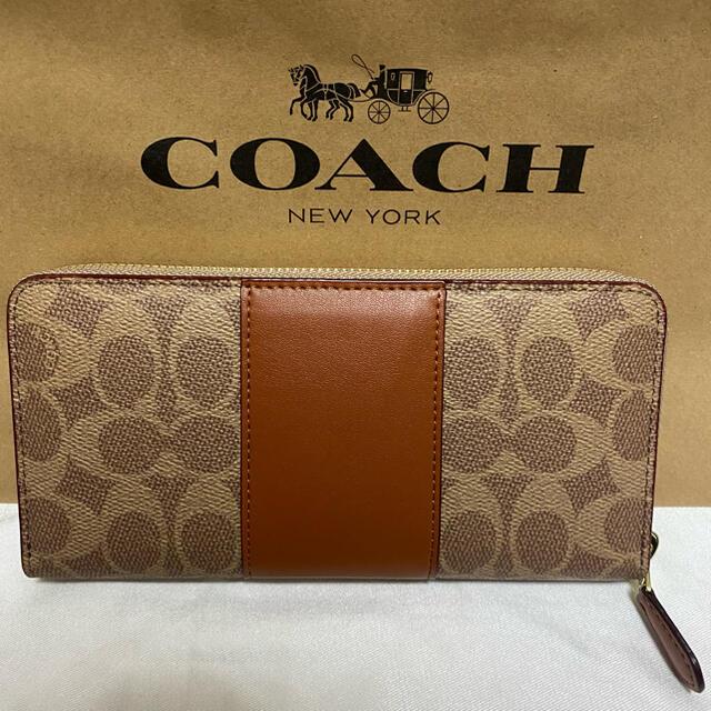 COACH(コーチ)の【新品】コーチ シグネチャー 本革 ラウンドファスナー長財布 ブラウン  レディースのファッション小物(財布)の商品写真