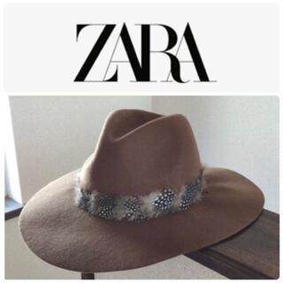 ザラ(ZARA)のZARA ザラ 中折れフェザーファーフェルトハット ウールハット ブラウン 帽子(ハット)
