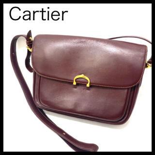 カルティエ(Cartier)のCartier カルティエ マストレザーショルダーバッグ ボルドー ショルダー(ショルダーバッグ)