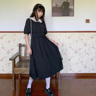 ♡地雷系 黒ワンピース レース襟(ひざ丈ワンピース)