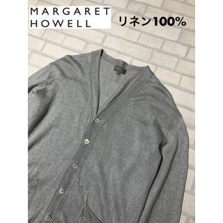 マーガレットハウエル(MARGARET HOWELL)の定価4万 マーガレットハウエル リネン100% カーディガン Lサイズ グレー(カーディガン)