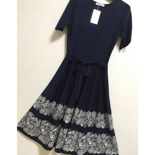 GALLERY VISCONTI - カタログ掲載品!裾ジャガード編み半袖ニットワンピース