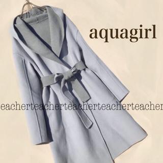 TOMORROWLAND - 春色 カシミヤ  ダブルフェイス フーデットコート ウールコート 水色 ブルー