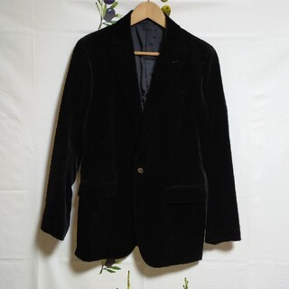 シップス(SHIPS)のSHIPS ベロア生地ジャケット テーラードジャケット シップス  黒 Mサイズ(テーラードジャケット)