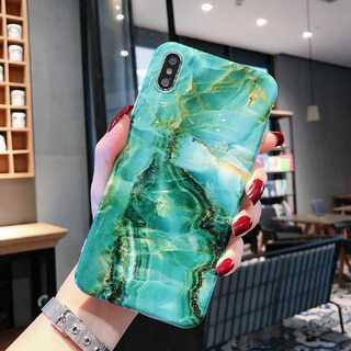 大理石 マーブル iPhoneケース エメラルドグリーン XSMax(iPhoneケース)