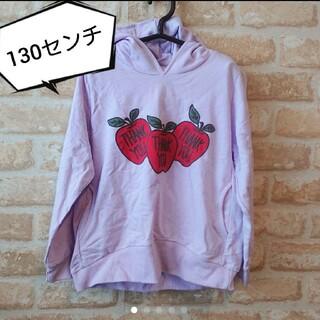 ★新品★韓国子供服★リンゴ プリント 薄手 パーカー★薄紫 パープル 130(Tシャツ/カットソー)