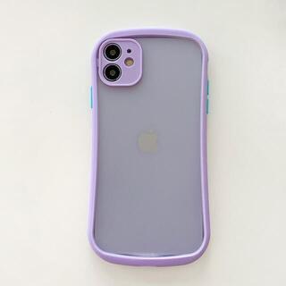 【新入荷】iPhone12/12proケース スマホケース クリアケース 紫(iPhoneケース)