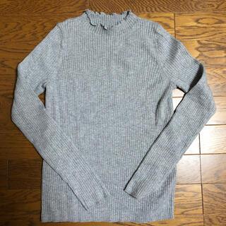 ユニクロ(UNIQLO)のUNIQLO シャイニーリブフリルネックセーター(ニット/セーター)