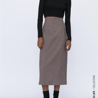 ザラ(ZARA)のZARA ギンガムチェックスカート(ひざ丈スカート)