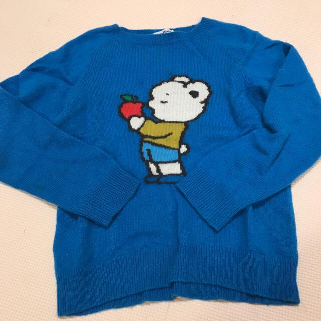 familiar(ファミリア)のファミリア セーター ニット 青 110 カシミヤ キッズ/ベビー/マタニティのキッズ服男の子用(90cm~)(ニット)の商品写真