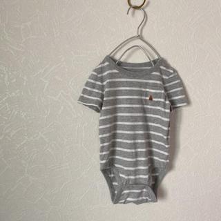 ベビーギャップ(babyGAP)のbaby gapくまちゃん刺繍ボーダーロンパース(ロンパース)