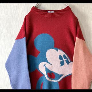 ディズニー(Disney)のMICKEY&CO ミッキーマウス ニット セーター でかプリント 赤 90s(ニット/セーター)
