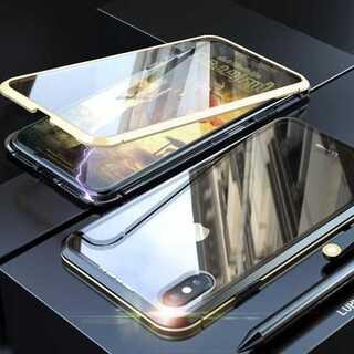 両面 ガラス iPhoneXS iPhoneX ケース 黒 & 金 透明カバー(iPhoneケース)