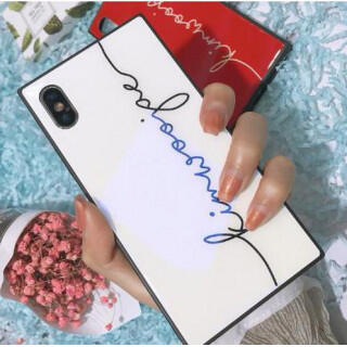 iphoneケース 英字プリント柄 ブルーガラス シンプル スクエア ホワイト(iPhoneケース)