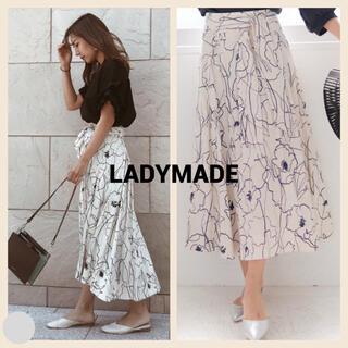 レディメイド(LADY MADE)のLADYMADE リネンドローイングフラワースカート(ロングスカート)
